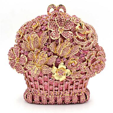 billige Vesker-Dame Krystalldetaljer / Uthult Legering Aftenveske Rhinestone Crystal Evening Bags Blomster / botanikk Rosa / Lys Gull / Regnbue / Høst vinter