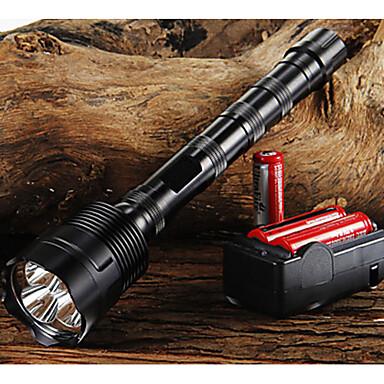 billige Lommelykter & campinglykter-trust LED Lommelygter 3800/3000 lm LED LED 3 emittere 5 lys tilstand med batterier og lader Justerbart Fokus Glidesikkert Greb Camping / Vandring / Grotte Udforskning Dagligdags Brug Sykling Svart