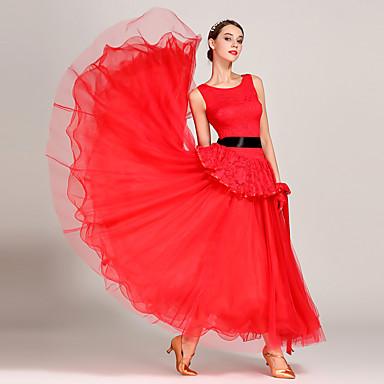 Für den Ballsaal Kleider Damen Leistung Spitze / Georgette Spitze / Horizontal gerüscht Ärmellos Hoch Kleid / Handschuhe / Gürtel