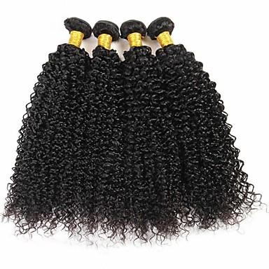 baratos Extensões de Cabelo Natural-4 pacotes Cabelo Brasileiro Kinky Curly 8A Cabelo Humano Cabelo Humano Ondulado Extensões de Cabelo Natural 8-28 polegada Côr Natural Tramas de cabelo humano Feminino extensão Melhor qualidade