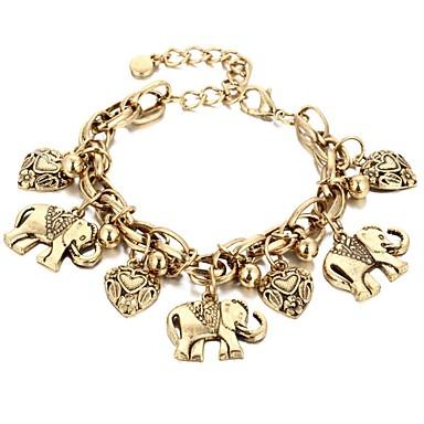abordables Bracelet-Bracelet Pendentif Femme Rétro Eléphant Cœur dames Bohème Bracelet Bijoux Dorée Argent pour Carnaval Bar