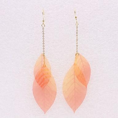 Žene Viseće naušnice 3D Leaf Shape dame Stilski Jednostavan Naušnice Jewelry Light Orange Za Dnevno 1 par