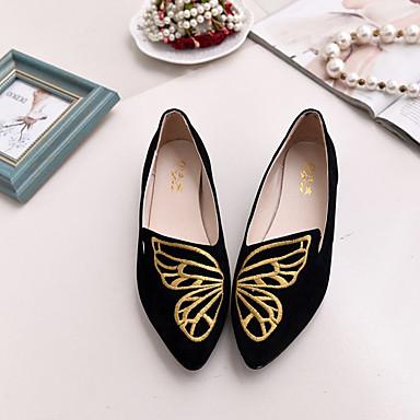 Femme Chaussures de confort Daim Automne Décontracté Ballerines Talon Talon Talon Plat Noir / Rose   Un Design Moderne  890bc7