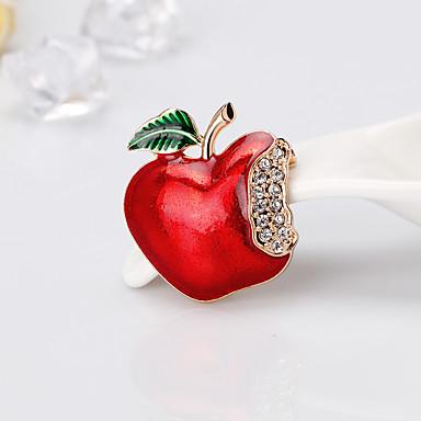 0e6be278c2713 نسائي كلاسيكي دبابيس Apple كرتون أوروبي موضة بروش مجوهرات أحمر من أجل عيد  الميلاد مناسب للبس اليومي