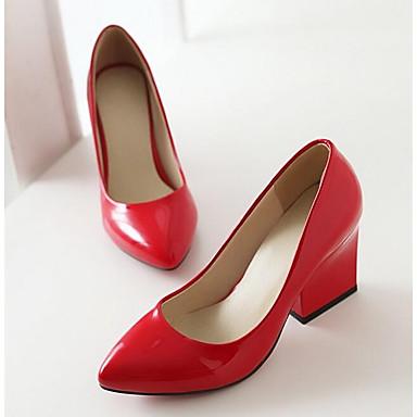 Žene Udobne cipele Lakirana koža Proljeće Cipele na petu Kockasta potpetica Obala / Crn / Crvena