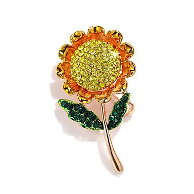 663d058bc71a Mujer Retro Broche Brillante Chapado en Oro Foco Multicolor damas Elegante  Coreano Broche Joyas Dorado Para Calle