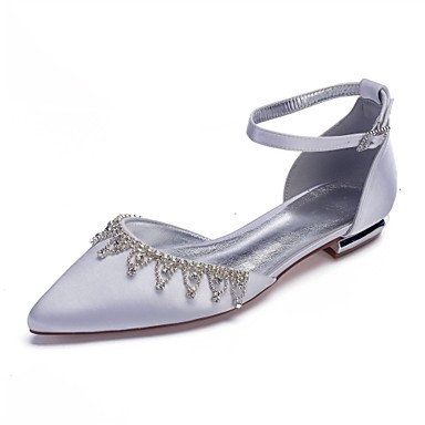cheap Wedding Shoes-Women's Comfort Shoes Satin Spring & Summer Sweet Wedding Shoes Flat Heel Pointed Toe Sparkling Glitter / Tassel Burgundy / Champagne / Ivory / Party & Evening