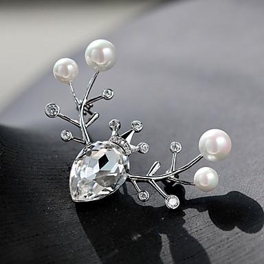 voordelige Dames Sieraden-Dames Zirkonia Broches Klassiek Hert Dames Stijlvol Verzilverd Oostenrijks kristal Broche Sieraden Zilver Voor Kerstmis Lahja
