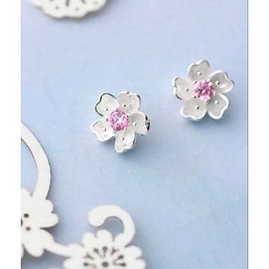 Žene Kubični Zirconia Sitne naušnice Klasičan Cvijet Stilski Jednostavan Romantični S925 Sterling Silver Naušnice Jewelry Pink Za Vjenčanje Festival 1 par