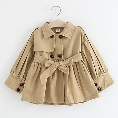 رخيصةأون معاطف و سترات البنات-معطف المطر كم طويل لون سادة أناقة الشارع للفتيات أطفال