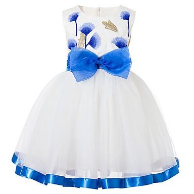 baratos Princesa-Infantil Para Meninas Básico Sólido Sem Manga Vestido Azul