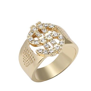 Žene Prsten 1pc Zlato 18K pozlaćeni Umjetno drago kamenje Legura Geometric Shape dame Jedinstven dizajn Moda Dnevno Rad Jewelry 3D Cool
