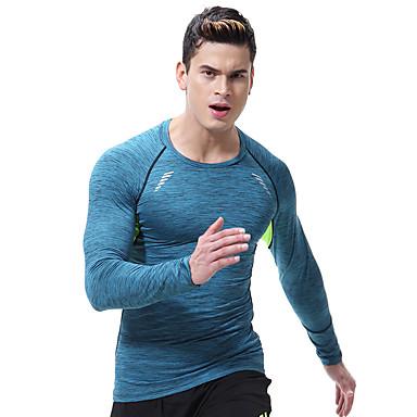 男性用 クルーネック ランニングTシャツ プリント エラステイン ヨガ ランニング フィットネス ベース層 プラスサイズ 長袖 アクティブウェア 高通気性 速乾性 ビデオ圧縮 モイスチャーコントロール 高弾性 スリム