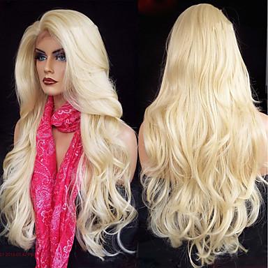 Synteettiset peruukit / Synteettiset pitsireunan peruukit Laineita / Runsaat laineet Minaj Tyyli Kerroksittainen leikkaus Lace Front Peruukki Kulta Blonde Synteettiset hiukset 26 inch Naisten Pehme