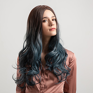 Synthetic Wig Deep Wave Ombre Middle Part Black Smoke Blue Black