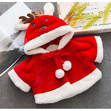 levne Dětské bundičky a kabátky-Dítě Dívčí Základní Jednobarevné Dlouhý rukáv Standardní Bavlna / Polyester Bundičky a kabáty Rubínově červená