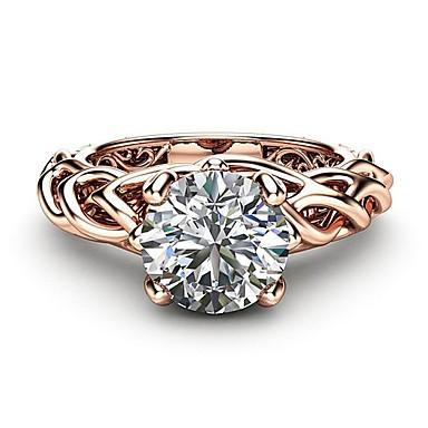 voordelige Dames Sieraden-Dames Ring Diamant Kubieke Zirkonia 1pc Goud Rose Koper Roos verguld Gesimuleerde diamant Vier punten Dames Artistiek modieus Bruiloft Feest Sieraden leven Boom Schattig