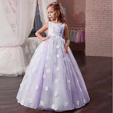 baratos Princesa-Infantil Para Meninas Básico Sólido Floral Sem Manga Vestido Bege
