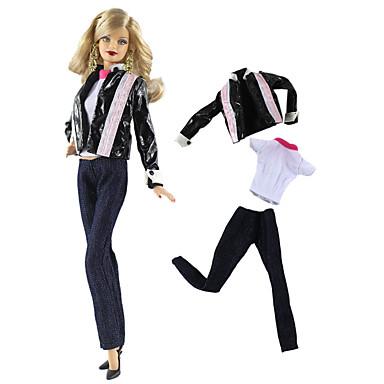 Dodaci za lutke Odjeća za lutke Hlače s lutkama Casual Lolita Dva dijela Za Barbie Moda Blue / crna Nonwoven Fabric Tkanina Pamučne tkanine Kaput / Top / Hlače Za Djevojka je Doll igračkama