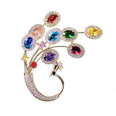 e83a09a9e904 Mujer Circonita Clásico Broche Chapado en Oro Cristal Austriaco Pavo real  damas Coreano Broche Joyas Dorado
