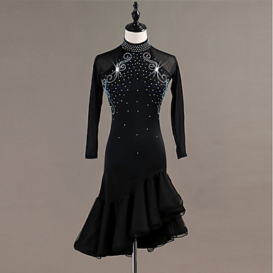 Latin Dance Dresses Women's Training / Performance Spandex / Tulle Crystals / Rhinestones Long Sleeve High Dress