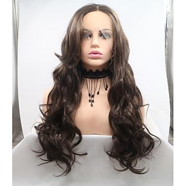 Lănțișoare frontale din sintetice Stil Ondulat Stil Frizură în Straturi Față din Dantelă Perucă Maro Bej Păr Sintetic 26 inch Pentru femei Dame Maro Perucă Lungime medie Sylvia 130% Human Densitate