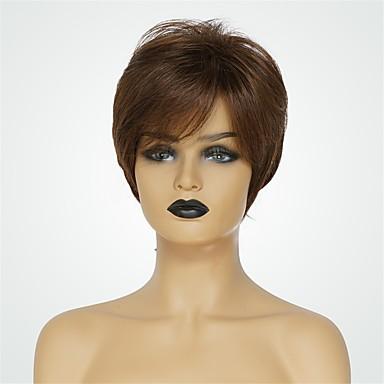 Menschliches Haar Capless Perücken Echthaar Natürlich gerade Pixie-Schnitt Natürlicher Haaransatz Braun Kurz Maschinell gefertigt Perücke Damen