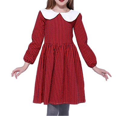 Χαμηλού Κόστους Φορέματα για κορίτσια-Παιδιά Κοριτσίστικα Βασικό Καρό Μακρυμάνικο Φόρεμα Ρουμπίνι