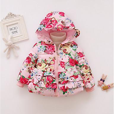 levne Dětské bundičky a kabátky-Dítě Dívčí Aktivní Tisk Dlouhý rukáv Standardní Polyester S podšívkou Vodní modrá / Toddler
