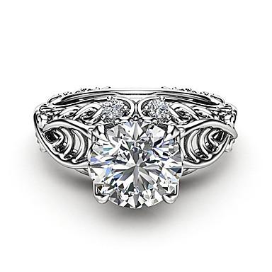 billige Motering-Dame Ring / Micro Pave Ring Diamant / Kubisk Zirkonium 1pc Sølv Kobber / Platin Belagt / Fuskediamant Fire tenger damer / trendy / Romantikk Aftenselskap / Festival Kostyme smykker / Livets tre