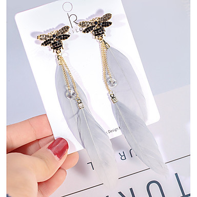 Žene Kubični Zirconia Viseće naušnice Long Poveznica / lanac Dragonfly dame Korejski Umjetno drago kamenje Pozlaćeni Perje Naušnice Jewelry Obala Za Ulica 1 par