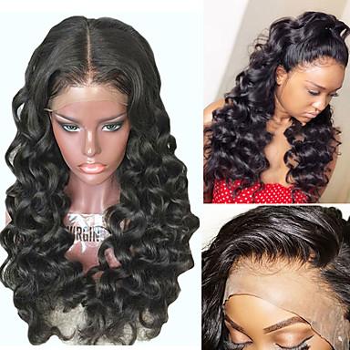 Prednja perika od sintetičkog čipke Kovrčav Loose Curl Stil Stepenasta frizura Lace Front Perika Crna Tamnosmeđa Sintentička kosa 26 inch Žene s dječjom kosom Prirodna linija za kosu Afro-američka