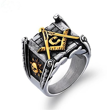 voordelige Herensieraden-Heren Ring Zegelring Vrijmetselaarsringen 1pc Goud Zilver Titanium Staal Vierkant Vintage Militair Leger Feest Dagelijks Sieraden Vintagestijl vrijmetselaar Totem Series Cool