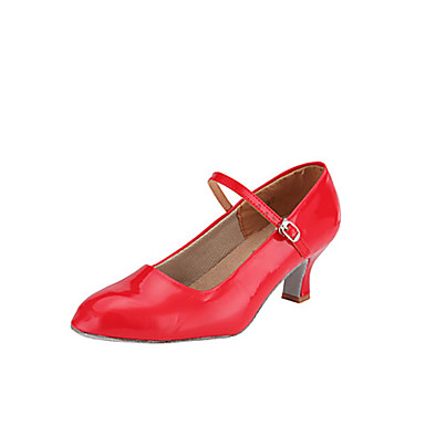 Shall We® Women's PU(Polyurethane) Modern Shoes / Ballroom Shoes Buckle Heel Flared Heel Non Customizable Red / Silver / Gold / EU39