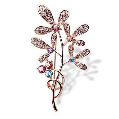 Žene Broševi Klasičan Leaf Shape dame Umjetnički Jednostavan Umjetno drago kamenje Broš Jewelry Zlato Za Dnevno