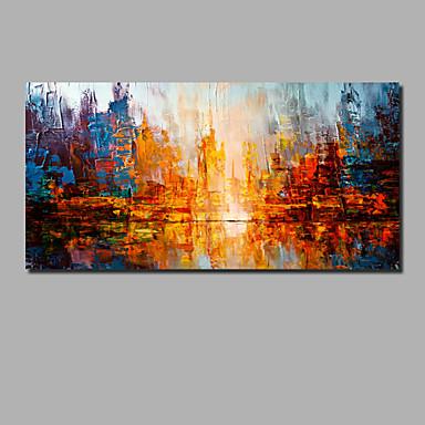 billige Oliemalerier-Hang-Painted Oliemaleri Hånd malede - Abstrakt Landskab Moderne Omfatter indre ramme / Valset lærred / Stretched Canvas