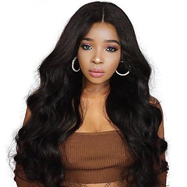 Remy kosa Full Lace Lace Front Perika Asimetrična frizura Wendy stil Brazilska kosa Tijelo Wave Crna Perika 130% 150% 180% Gustoća kose s dječjom kosom Žene Jednostavan dressing Sexy Lady Prirodno