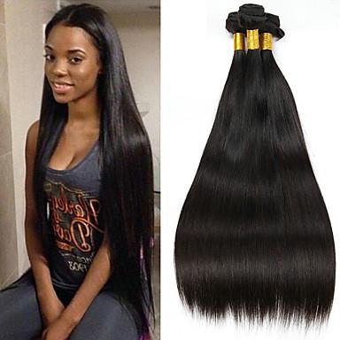 お買い得  ワンパックソリューション-3バンドル インディアンヘア ストレート 8A 人毛 未処理人毛 ヘッドピース 人間の髪編む ヘアケア 8-28 インチ ナチュラルカラー 人間の髪織り 滝状吐水タイプ キュート 快適 人間の髪の拡張機能 女性用