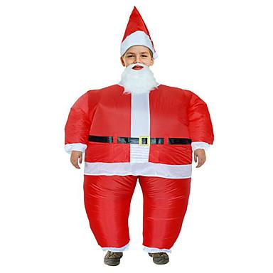 コスプレ衣装 サンタクロース 青少年 成人 男性用 クリスマス クリスマス 新年 イベント/ホリデー 中身 リネン ルビーレッド カーニバルコスチューム 休暇