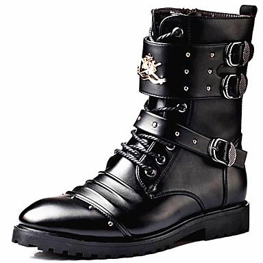 Miesten Fashion Boots Synteettinen Syystalvi Vapaa-aika / Englantilainen Bootsit Pidä lämpimänä Säärisaappaat Musta / Juhlat