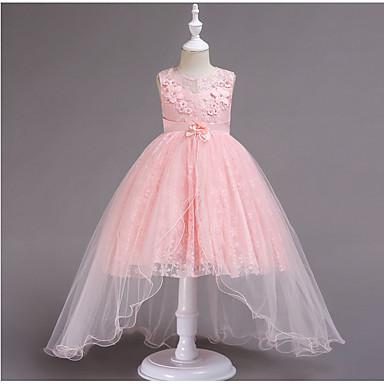 رخيصةأون ملابس الأميرات-فستان بدون كم لون سادة مناسب للعطلات حلو للفتيات أطفال