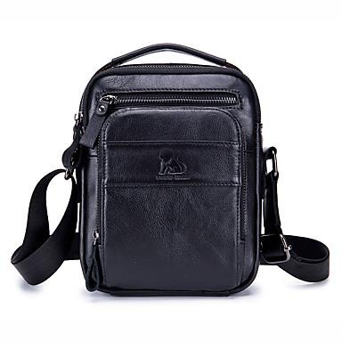 Недорогие Портфели-laoshizi Мужские сумки из воловьей кожи на плечо гладкие однотонные черные / темно-коричневые / светло-коричневые