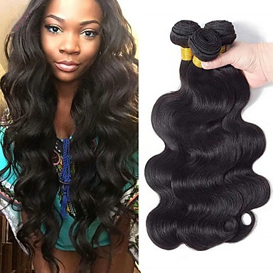 3 paketa Brazilska kosa Tijelo Wave Ljudska kosa Netretirana  ljudske kose Headpiece Ljudske kose plete Styling kose 8-28 inch Prirodna boja Isprepliće ljudske kose novorođenče Najbolja kvaliteta