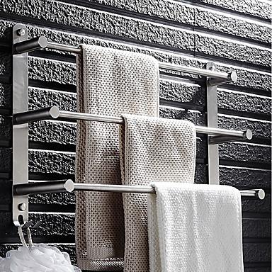 håndklæde bar rustfrit stål 3 tier håndklædestativ badeværelse hylder vægmonteret