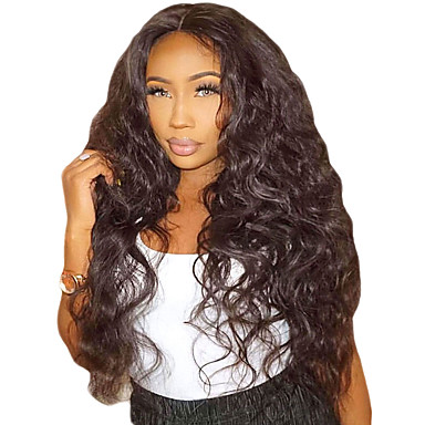 Prednja perika od sintetičkog čipke Wavy Water Wave Stil Stepenasta frizura Lace Front Perika Crna Tamnosmeđa Sintentička kosa 26 inch Žene s dječjom kosom Prirodna linija za kosu Afro-američka perika