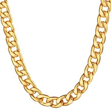 billige Mote Halskjede-Herre Kjedehalskjeder Kubansk Link Mariner Chain Overdrivelse Mote Hip Hop Rustfritt Stål Gull Svart Sølv 55 cm Halskjeder Smykker 1pc Til Gave Daglig
