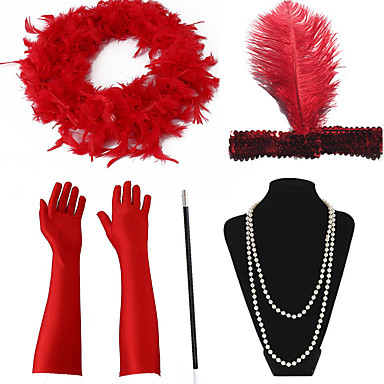The Great Gatsby Čarlston Vintage 1920s Ogrlice Traka za kosu u stilu 20-ih Setovi dodataka za kostime Žene Kostim Šeširi Ogrlica od šalova Igazgyöngy nyaklánc Držač cigareta Red / White Vintage
