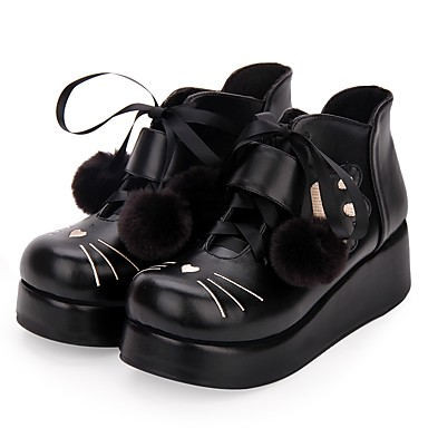 Punk Wedge Heel Cipele Vez 5 cm CM Crn Za Žene Umjetna koža / Polyurethane Leather Halloween kostime