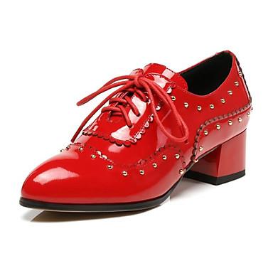 Adattabile Per Donna Nappa Primavera Oxfords Quadrato Rosso #07029411