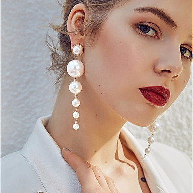 cheap Hot Pearl Jewelry Sale-Women's White Freshwater Pearl Beads Drop Earrings Hanging Earrings Pearl Earrings Ladies Stylish Elegant everyday Jewelry White For Wedding Birthday Evening Party Masquerade Engagement Party Prom 1